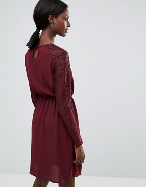 photo Lace Sleeved Dress by Y.A.S, color Decadent Chocolate - Image 2