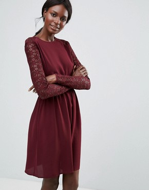 photo Lace Sleeved Dress by Y.A.S, color Decadent Chocolate - Image 1