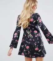 photo Button Through Mini Swing Dress with Trumpet Sleeve in Floral Print by ASOS, color Multi - Image 2