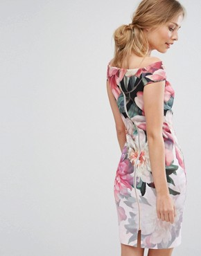 photo Painted Posie Off Shoulder Dress by Ted Baker, color Baby Pink - Image 2