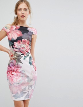 photo Painted Posie Off Shoulder Dress by Ted Baker, color Baby Pink - Image 1