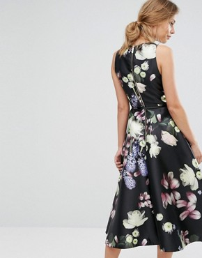 photo Rosa Floral Fitted Dress by Ted Baker, color Black - Image 2