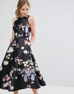 photo Rosa Floral Fitted Dress by Ted Baker, color Black - Image 1