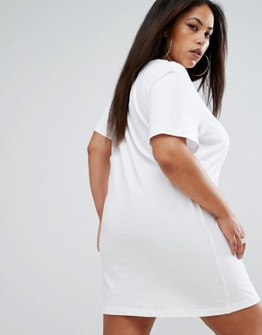 photo Plus-sized T-Shirt Dress by Puma, color Bright White/Candy - Image 2