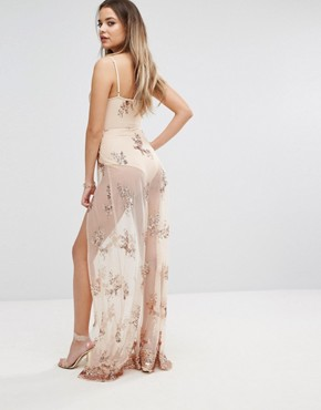 photo Maxi Dress in Sequin with Bodysuit by NaaNaa, color Nude - Image 2