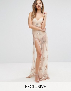photo Maxi Dress in Sequin with Bodysuit by NaaNaa, color Nude - Image 1