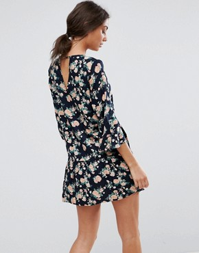 photo Shanti 3/4 Sleeve Floral Print Dress by Y.A.S Tall, color Navy - Image 2