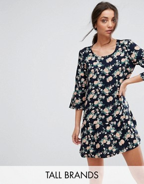 photo Shanti 3/4 Sleeve Floral Print Dress by Y.A.S Tall, color Navy - Image 1