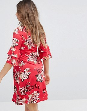 photo Floral Printed Tea Dress with Fluted Sleeve by Gebe Maternity Nursing, color Multi - Image 2