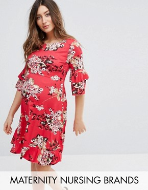 photo Floral Printed Tea Dress with Fluted Sleeve by Gebe Maternity Nursing, color Multi - Image 1