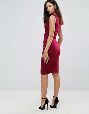 photo Bodycon Midi Dress by Jessica Wright, color Red - Image 2