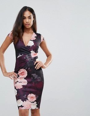 photo Plunge Neck Floral Bodycon Dress by Jessica Wright, color Multi - Image 1