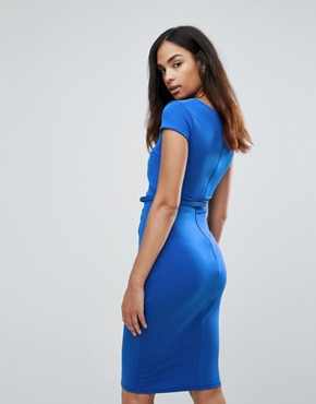 photo Belted Capped Sleeve Midi Dress by Jessica Wright, color Blue - Image 2