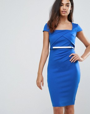 photo Belted Capped Sleeve Midi Dress by Jessica Wright, color Blue - Image 1