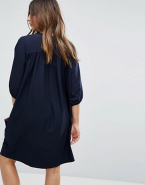photo Woven Shift Dress with Tassel Detail by Gebe Maternity Nursing, color Navy - Image 2