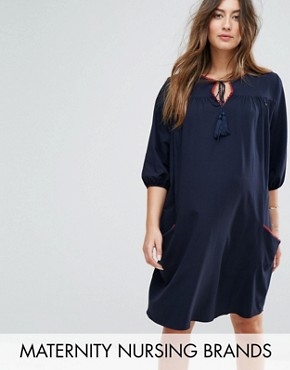 photo Woven Shift Dress with Tassel Detail by Gebe Maternity Nursing, color Navy - Image 1