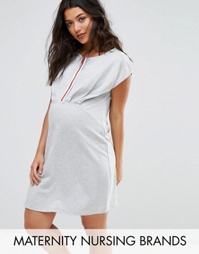 photo Woven Shift Dress with Tassel Detail by Gebe Maternity Nursing, color Grey - Image 1