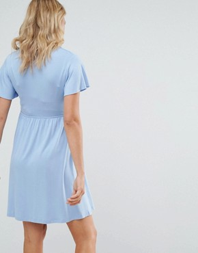 photo Frill Detail Skater Dress by Gebe Maternity Nursing, color Blue - Image 2