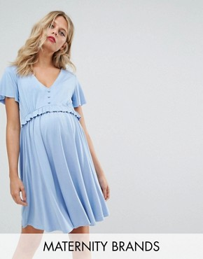 photo Frill Detail Skater Dress by Gebe Maternity Nursing, color Blue - Image 1