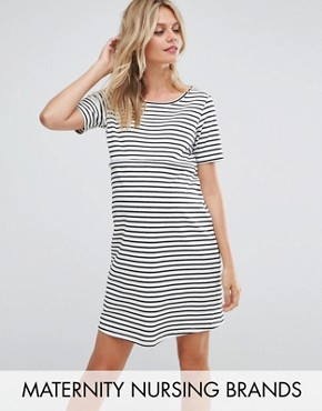 photo Striped Shift Dress with Star Emboridery by Gebe Maternity Nursing, color Multi - Image 1