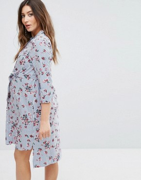 photo Floral Printed Shirt Dress by Gebe Maternity Nursing, color Multi - Image 2