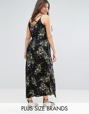 photo Floral Cross Back Maxi Dress by New Look Plus, color Black Pattern - Image 1