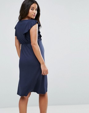 photo Jersey Dress with Frill Detail by Mamalicious, color Navy - Image 2