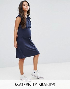 photo Jersey Dress with Frill Detail by Mamalicious, color Navy - Image 1