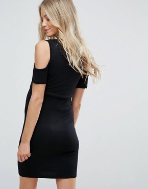 photo Cold Shoulder Dress by New Look Maternity Nursing, color Black - Image 2