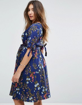 photo Tie Sleeve Floral Wrap Dress by New Look Maternity, color Navy Pattern - Image 2