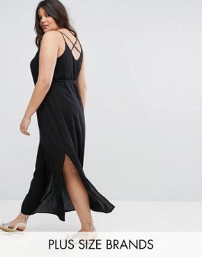 photo Cross Back Maxi Dress by New Look Plus, color Black - Image 1