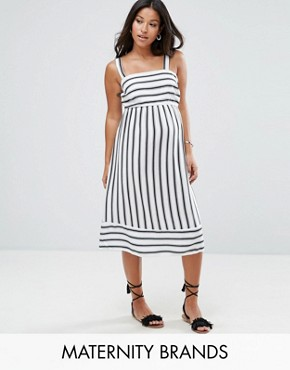photo Stripe Midi Dress by New Look Maternity, color Black White Pattern - Image 1