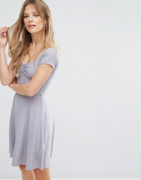 photo Ribbed Skater Dress by New Look, color Grey - Image 1