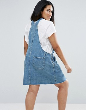 photo Denim Dungaree Dress in Midwash Blue by ASOS CURVE, color Blue - Image 2