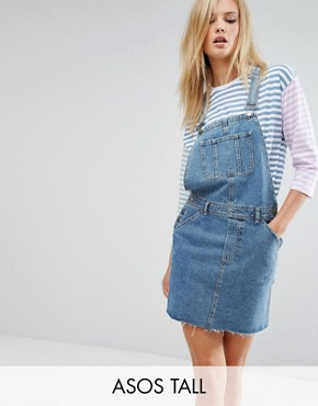 photo Denim Dungaree Dress in Midwash Blue by ASOS TALL, color Blue - Image 1