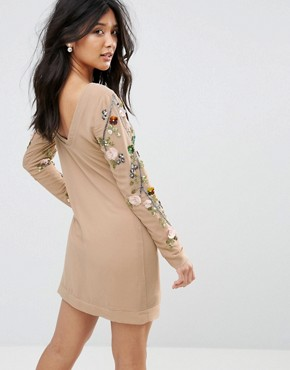 photo Floral Embellished Dress by Glamorous, color Stone - Image 2