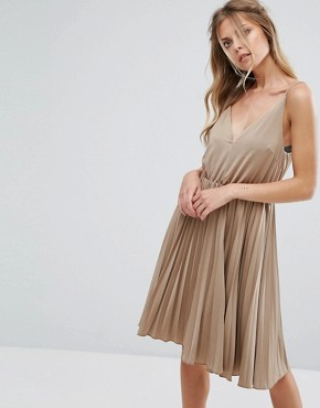photo Cami Skater Dress by Glamorous, color Beige - Image 1