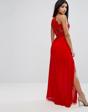 photo Eyelash Plunge Double Side Split Maxi Dress by Rare London, color Red - Image 2