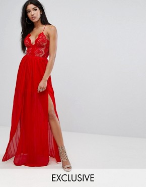 photo Eyelash Plunge Double Side Split Maxi Dress by Rare London, color Red - Image 1