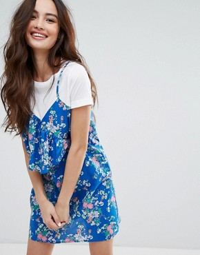 photo Tropical Print T-Shirt Cami Dress by Pull&Bear, color Blue - Image 1