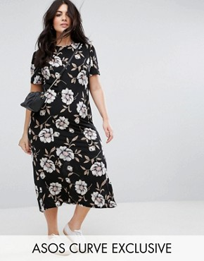 photo City Maxi Tea Dress in Large Floral Print by ASOS CURVE, color Multi - Image 1