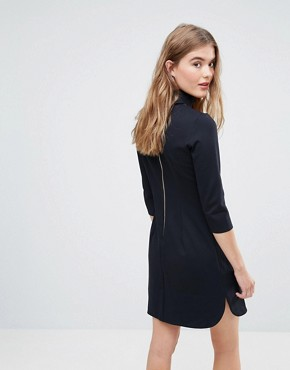 photo High Collar Shift Dress by Closet London, color Dark Navy - Image 2