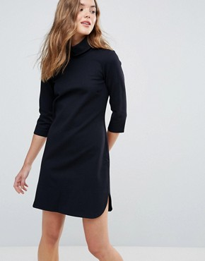 photo High Collar Shift Dress by Closet London, color Dark Navy - Image 1