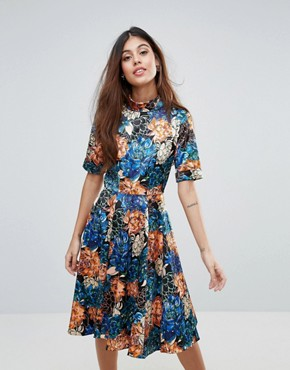 photo Floral Roll Sleeve Skater Dress by Closet London, color Multi - Image 1