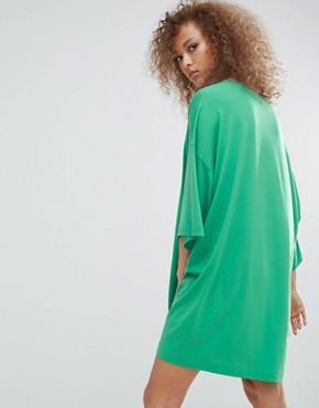 photo Huge T-Shirt Dress by Weekday, color Green - Image 2