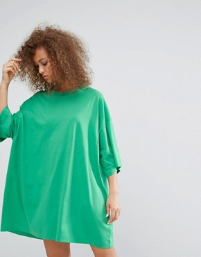 photo Huge T-Shirt Dress by Weekday, color Green - Image 1