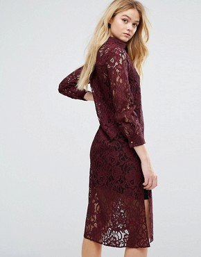 photo Long Sleeve Collared Lace Shirt Dress by Closet London, color Maroon - Image 2