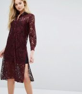 photo Long Sleeve Collared Lace Shirt Dress by Closet London, color Maroon - Image 1