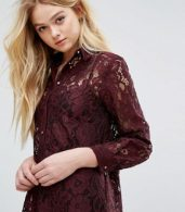 photo Long Sleeve Collared Lace Shirt Dress by Closet London, color Maroon - Image 3