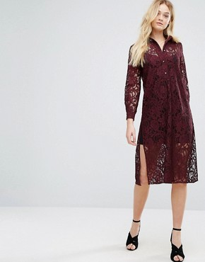 photo Long Sleeve Collared Lace Shirt Dress by Closet London, color Maroon - Image 4
